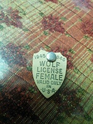 Vintage Wolf Hunting License, Female, 1945-46, USA, Great Condition