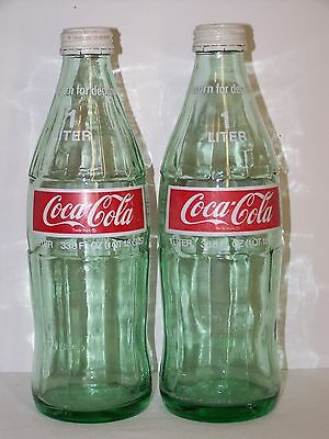 (2) Vintage 1970's Coca Cola Coke 1 Liter~33.8oz Green Glass Bottles w/Lids