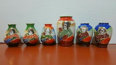 Vintage Lot Of 6 Satsuma Occupied Japan Miniature Vases Immortals Gold Gilt