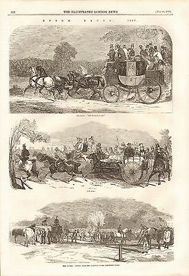 1857 Antique Print-Epsom Races, On The Way, The Paddock