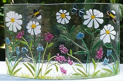 Flower Meadow With Bees And Butterfly, Original Fused Glass   Art, Freestanding