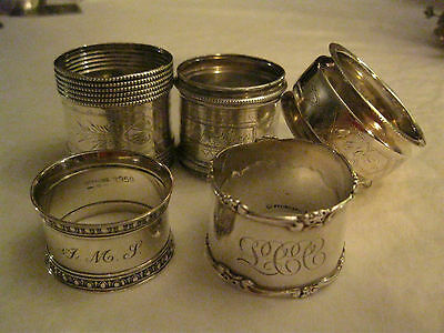 Lot of 5  Antique Sterling Silver Victorian napkin rings