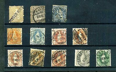 Switzerland page of 12 early (1882) stamps used