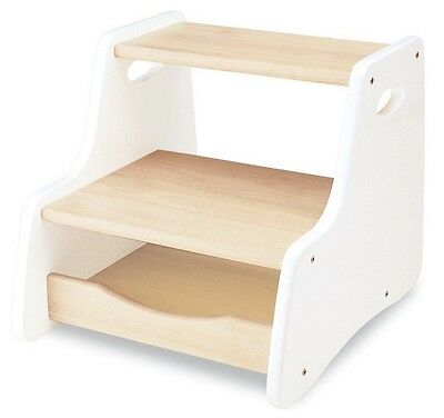 PINTOY Wooden Step Stool White - Strong and Sturdy - 39 x 33.5 x 31.5 cm