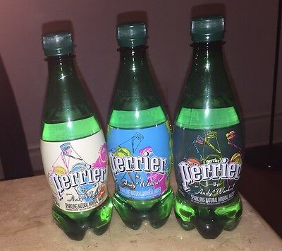 Perrier X Andy Warhol Set of 3 Bottles POP Art Keith Haring Koons Banksy