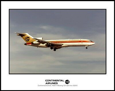 Continental Airlines Boeing 727 11x14 Photo (I219RAJF11X14)