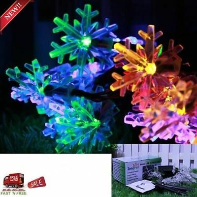 30 LED Snowflake Solar String Light 20 ft Waterproof Decorations Christmas Tree