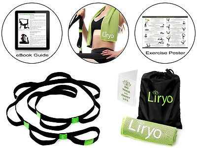 Liryo Yoga Strap for Stretching with Loops - Non Elastic Stretch Strap for Physi