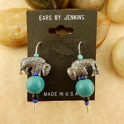 Pewter Buffalo beaded Earrings with turquoise beads hand crafted