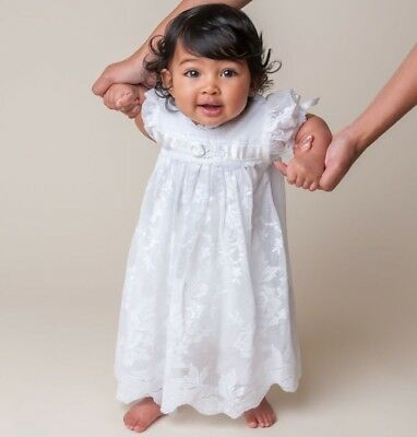 Baby Beau and Belle Christening Baptism Gown Dress Romper Set 6-12 month White