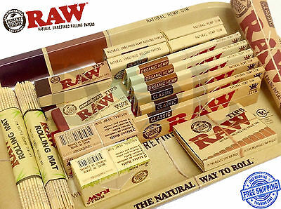 RAW Classic Organic Hemp King Rolling Mat Papers Metal Tray Filter Tips Roach