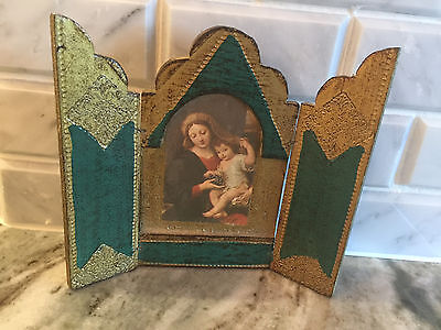 Florentine TRIPTYCH Antique Madonna & Child Gilt Green Gold Tole Wood ITALY