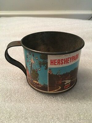 Vintage 1980s Hershey Amusement Park Souvenir Tin Cup Mug Train Ferris Wheel