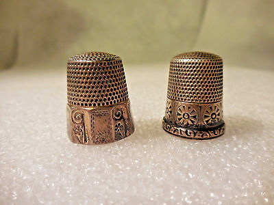 2 Antique American Victorian 19th Century Sterling Silver #10 Sewing Thimbles