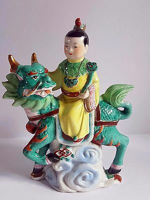 Chinese antique/vintage figure riding a Foo Dog/Dragon
