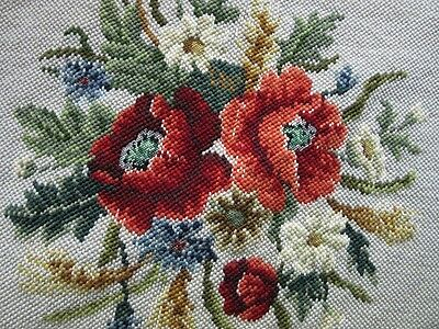 VINTAGE TAPESTRY NEEDLEPOINT STOOL CHAIR PANEL for REPLACEMENTS - ROSE GARLAND