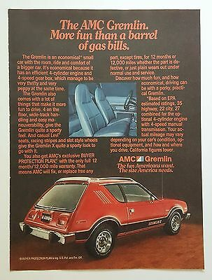Vintage 1970's AMC Gremlin Magazine ad - FREE PRIORITY MAIL!