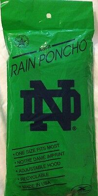 Notre Dame Hooded Rain Poncho Gear Storm Duds Adult One Size