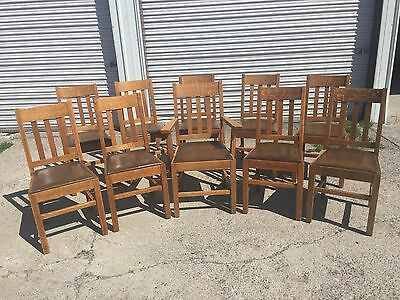 Set of Ten Antique Mission Dining Chairs