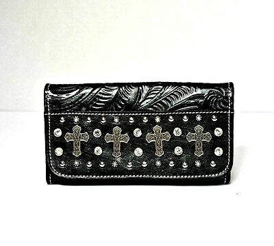 American West Womens Black Hand Tooled Leather Clutch Wallet Purse  NEW