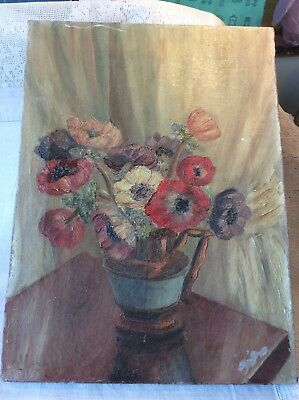 Vintage Original Oil Painting On Canvas Flowers Signed