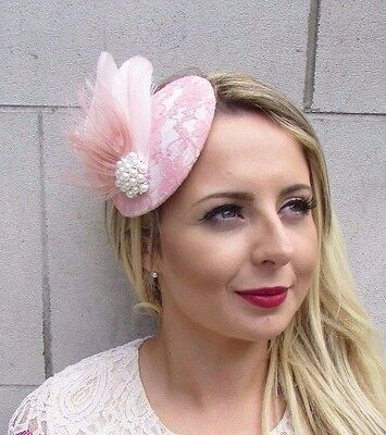 Blush Light Pink Cream White Feather Fascinator Pillbox Hat Races Pearl 3632