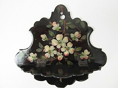 """SMALL VICTORIAN BLACK LACQUER FOLDING WHATNOT SHELF - Hand PAINTED FLORALS 6.25"""""""