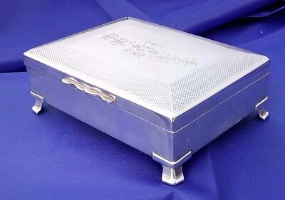 Silver Plate Engine Turned Cigarette / Jewelry Box on Raised Feet by Harman Bros
