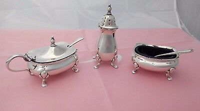 VTG 3 Piece Silver Plate Cruet or Condiment Set Liners & Spoons by Walker & Hall