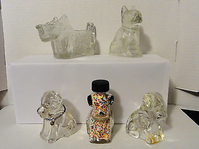 Lot of 5 Vintage Glass Candy Containers Dog Figures