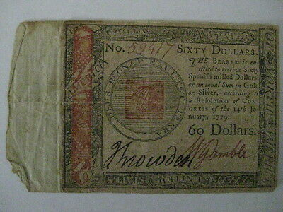 JAN 14 1779 COLONIAL CURRENCY $60 NOTE Signed SNOWDEN & GAMBLE RARE WATERMARKED