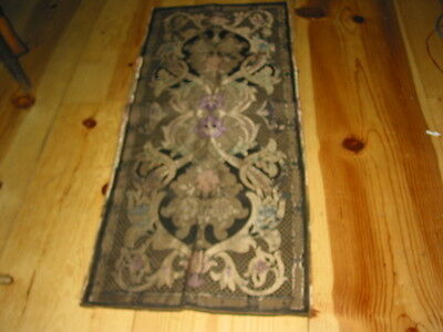 "Antique Gold Silver Metallic  Silk Embroidery Tapestry Panel 35"" X 16"""