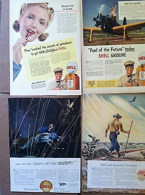 100  SHELL GAS OIL  LIFE size LARGE MAGAZINE ADS 1940s-50s  10c ea GREAT DEAL