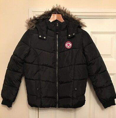 Girls Converse Black Quilted Jacket / Coat Size Large 12-13 Years 152-158cm