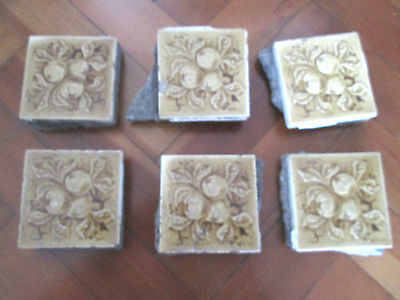 Set Of Six Vintage Fire Place Tiles Apple Design