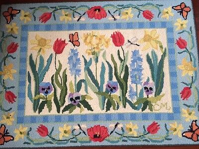 """Retired Claire Murray Rug Vintage """"Gingham Floral"""" Wool Hand Hooked NICE!"""
