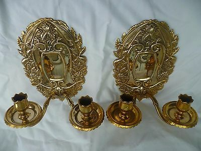 2 Antique Victorian Solid Brass Double Candle Wall Sconces, Flowers & Animals