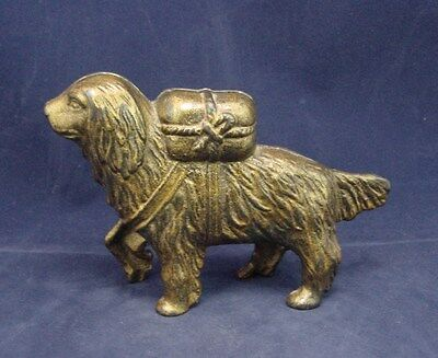 Dog With Pack On His Back Iron Coin Bank  Original Gold Gilt Finish Antique
