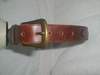 SOLID BRASS BUCKLE Women's HEAVYWEIGHT weathered  Leather Belt  Small