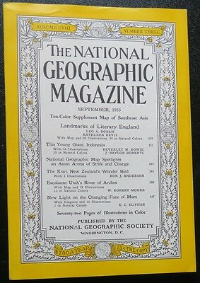 TWO National Geographic Magazines: Sept 1952-East ASIA; Sept 1955, SW Asia;MAPS