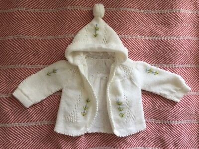 Vintage Knit Baby Girl Sweater With Embroidery Size 12 Months