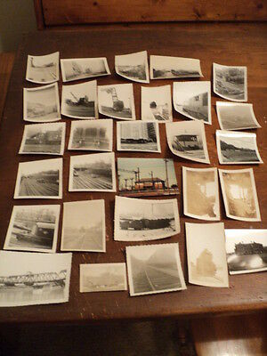Lot of 25+ Vintage Trains, Crane, Real Black and White Photos