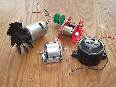 3 Old Motors and 1 buzzer, tested and working