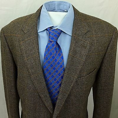 BROOKS BROTHERS Men's Sport Coat BROWN Windowpane 44L Wool Cashmere