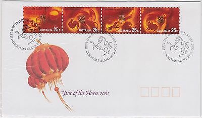 (K42-263) 2002 Christmas Island FDC $1.80 2envelopes year of the horse (CF)