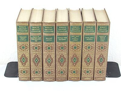 Brown/Green/Gold Vintage Book Lot (7)  Library Prop Home Decor Classic Decorator