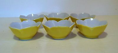 "Set of 6 Vtg Lotus Flower Bowls Yellow Porcelain 3-1/4"" for Sauce, Dipping, Rice"