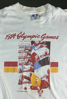 "Vintage Mens L 1984 Summer Olympics USA ""The Start"" Levi's Long Sleeve T-Shirt"