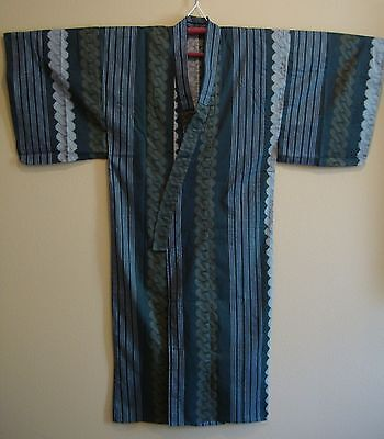 NWOT Japanese Kimono Cotton Yukata Robe Chain Pattern Gray Dark Teal Men's L
