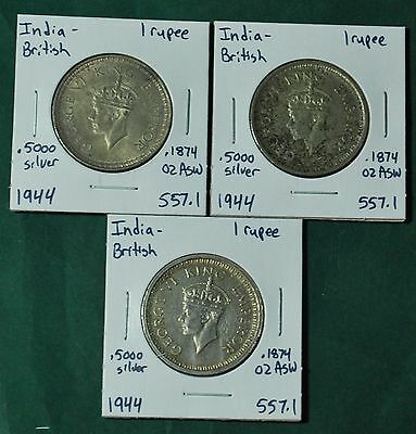 India British 1 One Rupee .5000 Silver Ag 1944 KM 557.1 Lot of 3 Foreign Coins